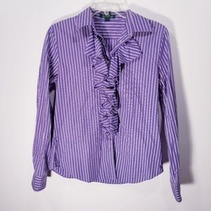 Ralph Lauren Purple Tuxedo Ruffle Button Shirt